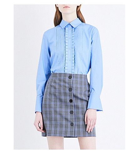 CLAUDIE PIERLOT Flared-cuff cotton-poplin shirt (Bleu
