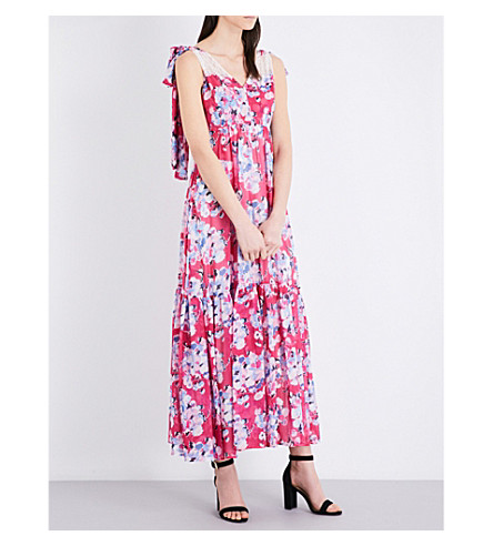 CLAUDIE PIERLOT Rosace chiffon maxi dress (Fuchsia