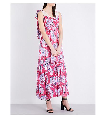 CLAUDIE PIERLOT Rosace chiffon maxi dress (Fuchsia