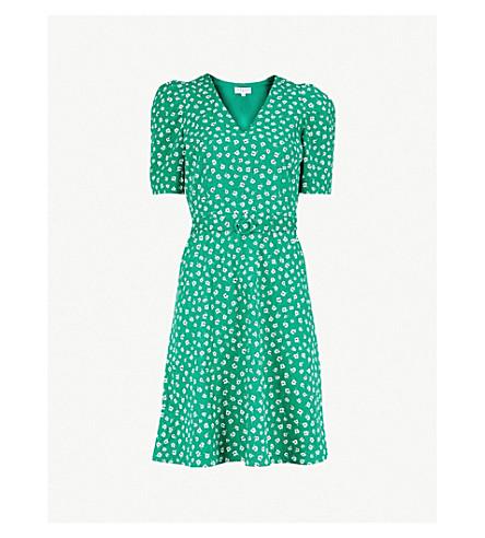 CLAUDIE PIERLOT 花印皮带棉迷你连衣裙 (深色 + 绿色