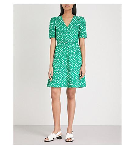 CLAUDIE PIERLOT Floral-print belted cotton mini dress (Dark+green