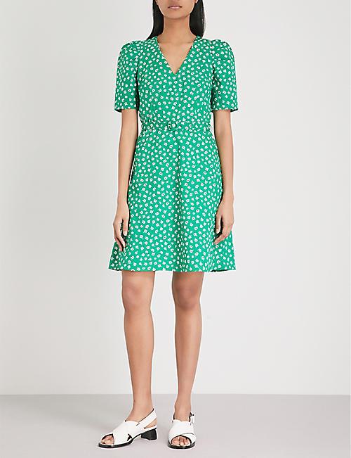 Claudie Pierlot Woman Chiffon-paneled Crepe Shirt Dress Army Green Size 38 Claudie Pierlot