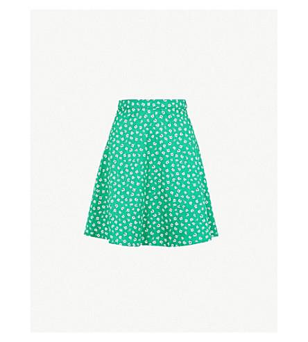 CLAUDIE PIERLOT Floral-print high-rise cotton mini skirt (Dark+green