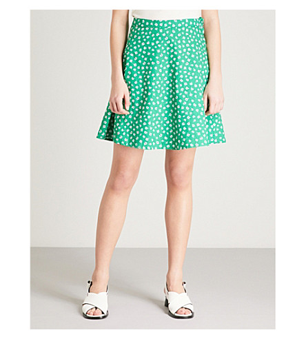 CLAUDIE PIERLOT Floral-print high-rise cotton mini skirt (Dark+green