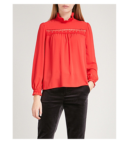 CLAUDIE PIERLOT Ruffled stretch-crepe blouse (Red