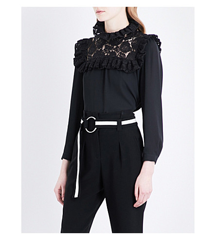 CLAUDIE PIERLOT Frilled-detail crepe top (Noir