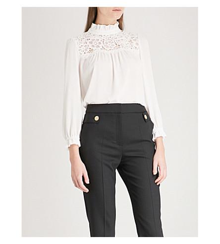 CLAUDIE PIERLOT Lace-panel crepe blouse (Cream