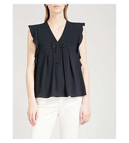 CLAUDIE PIERLOT Brava bow-embellished ruffled crepe blouse (Blue