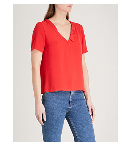 CLAUDIE PIERLOT V-neck crepe top (Red