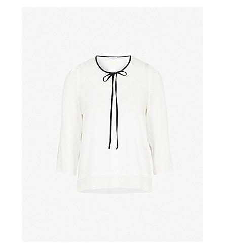 CLAUDIE PIERLOT Neck-tie crepe blouse (Cream