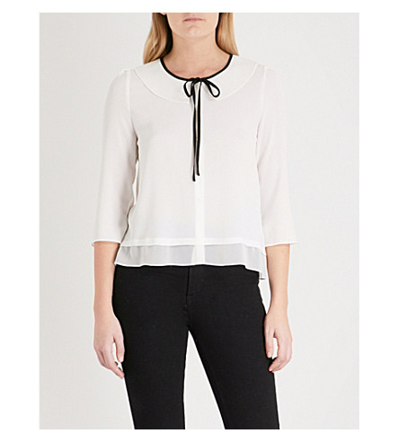 CLAUDIE PIERLOT Neck-tie crepe blouse (Cream