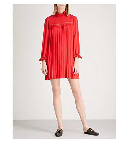 CLAUDIE PIERLOT Rivage lace-panelled crepe mini dress (Red