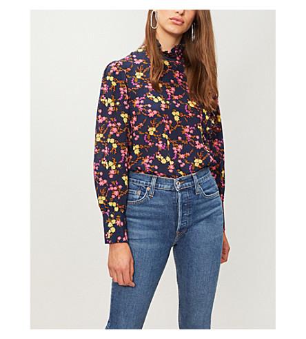 CLAUDIE PIERLOT Floral-print silk-crepe top (Navy