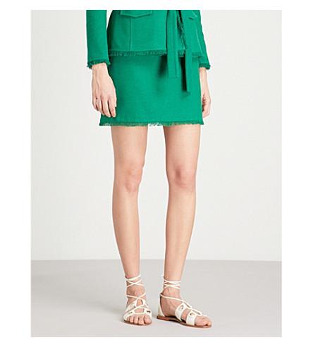 CLAUDIE PIERLOT 磨损装饰 bouclé裙 (深色 + 绿色