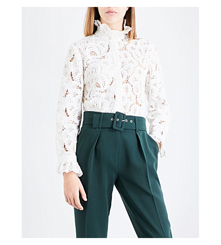 CLAUDIE PIERLOT Ruffled-collar lace shirt (Blanc