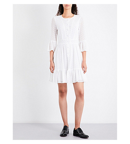 CLAUDIE PIERLOT Reverie embroidered cotton-blend dress (Ecru