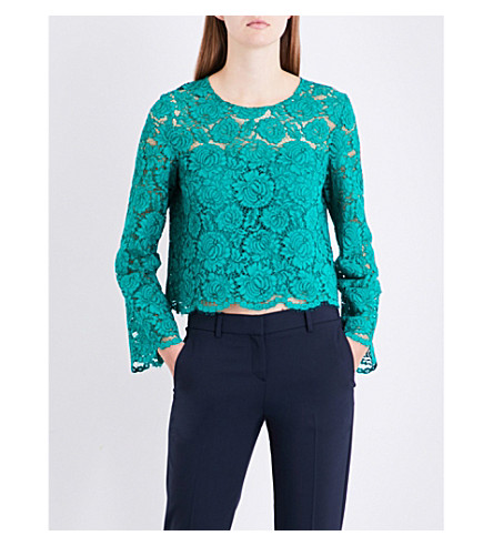 CLAUDIE PIERLOT Cropped floral-lace top (Vert