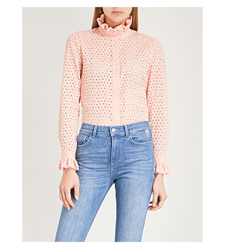 CLAUDIE PIERLOT Frilled cotton blouse (Pink