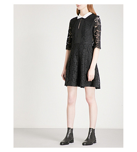CLAUDIE PIERLOT Contrasting-collar floral-lace dress (Noir