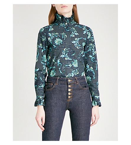 CLAUDIE PIERLOT Faux-pearl button paisley-print cotton blouse (Marine