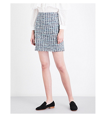 CLAUDIE PIERLOT Sand tweed mini skirt (Marine
