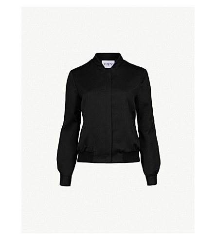 CLAUDIE PIERLOT Stand-collar satin bomber jacket (Noir