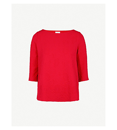 CLAUDIE PIERLOT Floral-textured woven top (Red