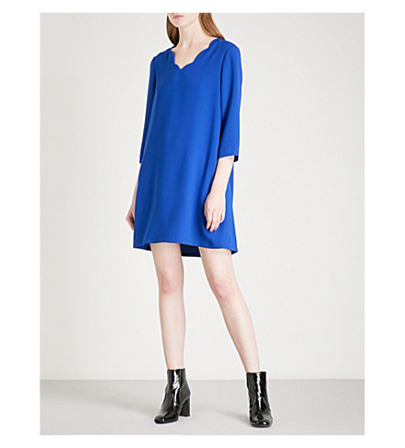 CLAUDIE PIERLOT Scalloped-trim crepe dress (Bleu+roi