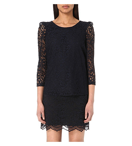 CLAUDIE PIERLOT Banc Bis lace top (Marine