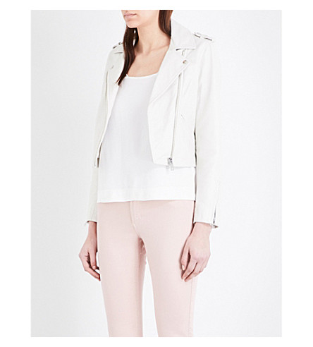 CLAUDIE PIERLOT Crush leather biker jacket (Ecru