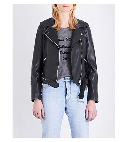 CLAUDIE PIERLOT Blouson classic leather jacket (Noir