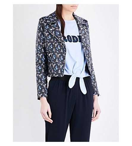 CLAUDIE PIERLOT Caprice floral-print leather biker jacket (Marine