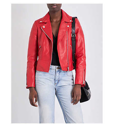 CLAUDIE PIERLOT Clemence leather biker jacket (Rouge