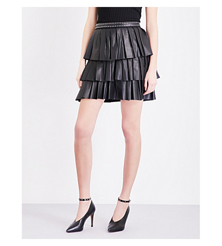 CLAUDIE PIERLOT Seattle ruffled leather mini skirt (Noir