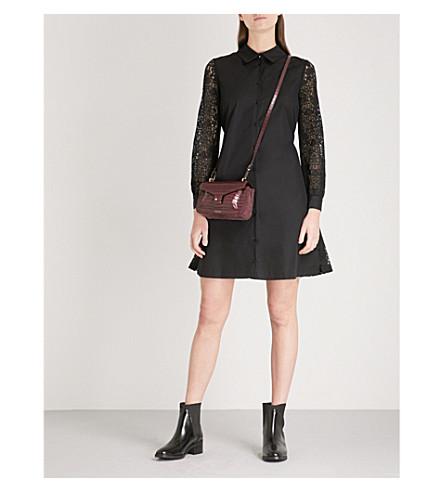 CLAUDIE PIERLOT Lace-sleeve cotton mini dress (Black