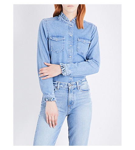 CLAUDIE PIERLOT Carry ruffled denim shirt (Jean