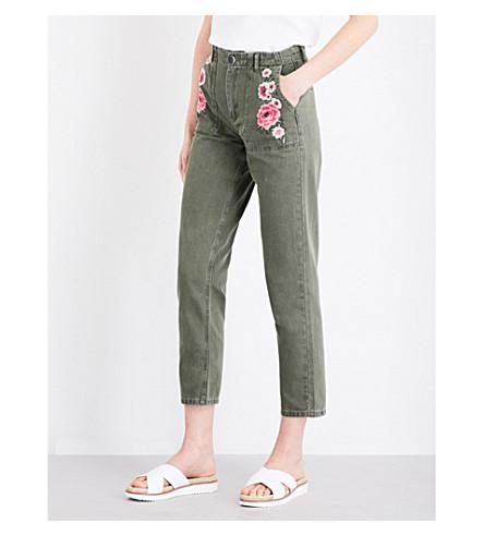 CLAUDIE PIERLOT Parker skinny high-rise jeans (Kaki