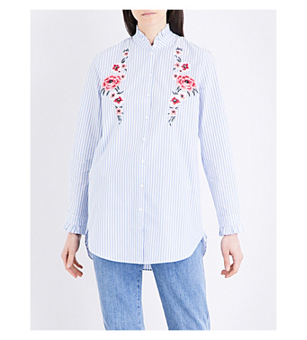 CLAUDIE PIERLOT Celesta floral-embroidered cotton-poplin shirt (Ciel