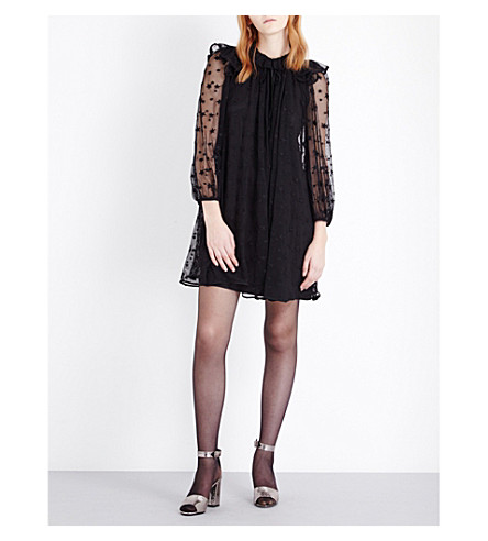 CLAUDIE PIERLOT Rougegorge embroidered mesh dress (Noir