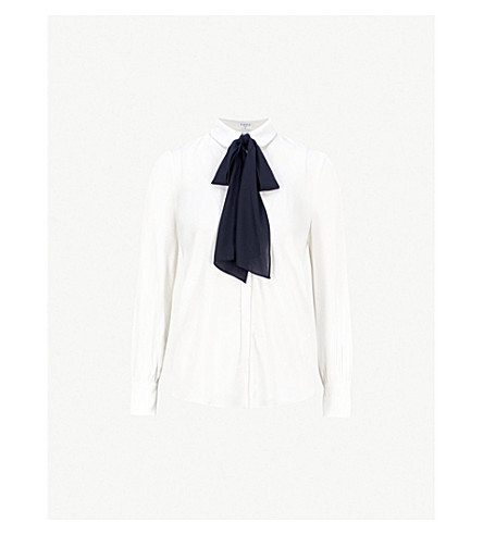 CLAUDIE PIERLOT Tie-detail crepe blouse (Cream