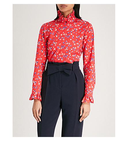 CLAUDIE PIERLOT Floral-print cotton shirt (Rouge