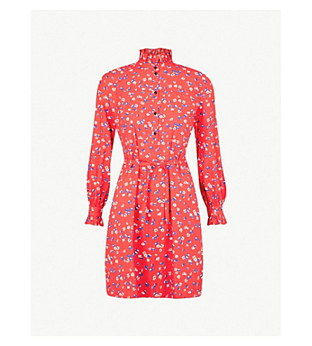 CLAUDIE PIERLOT Floral-print belted cotton mini dress (Red