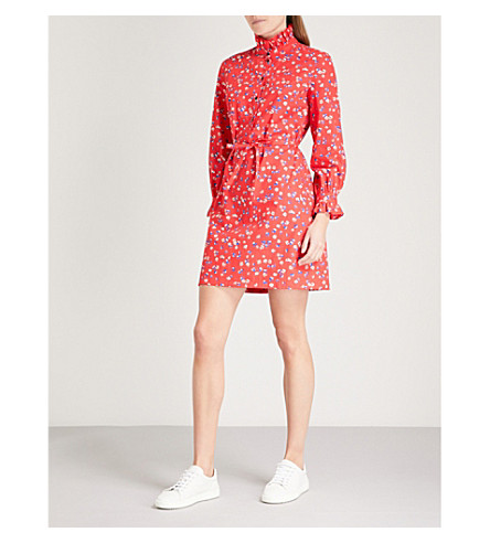 CLAUDIE PIERLOT Floral-print belted cotton mini dress (Red
