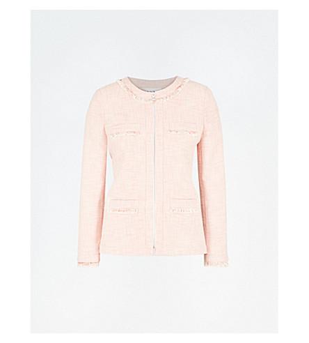CLAUDIE PIERLOT Frayed cotton-blend tweed jacket (Pink