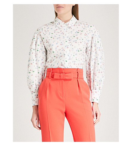 CLAUDIE PIERLOT Floral-print cotton shirt (Cream