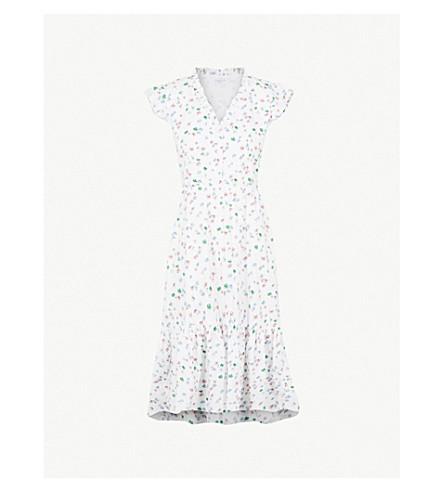 CLAUDIE PIERLOT Floral-print ruffled cotton dress (Cream