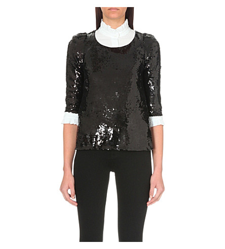 CLAUDIE PIERLOT Banco sequinned top (Noir