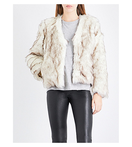 CLAUDIE PIERLOT Fauve faux-fur jacket (Ecru
