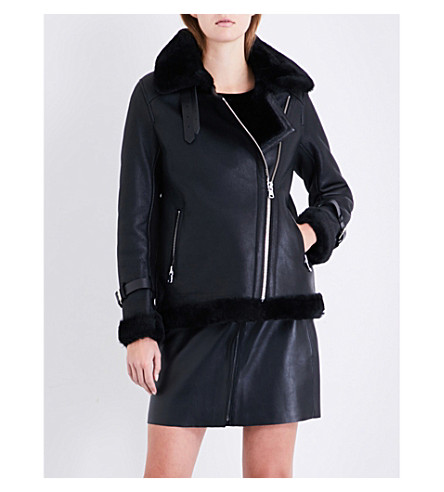 CLAUDIE PIERLOT Oversized shearling biker jacket (Noir