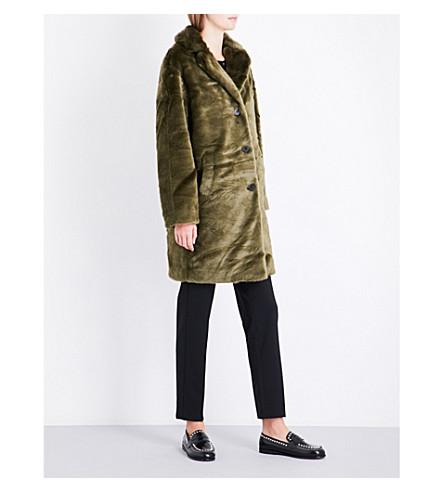 CLAUDIE PIERLOT Notch-lapel faux-fur coat (Kaki